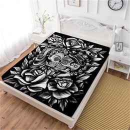 Discount boho bedding - Boho 3D Sugar Skull Bed Sheet Black Rose Print Fitted Sheet Valentine's Day Couples Bedding Tribal Bedclothes Home