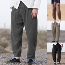 $enCountryForm.capitalKeyWord NZ - Chinese Vintage Men Harem Pants Cotton Loose Joggers Hip-hop Casual Pants Retro Solid Elastic Waist Trousers Men Harajuku 2019