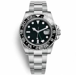 Top qualidade relógio de luxo homens qualidade relógio 2019 novo gmt ii movimento relógio mecânico automático 30 metros de safira impermeável relógio de pulso em Promoção