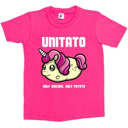 Cute Happy Unitato Half Unicorn Half Potato Camiseta para niños Camiseta de manga corta Tallas grandes en color Camiseta estampada Camiseta estampada Camiseta estampada