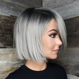 medium length hair styles NZ - Fashion Medium Straight Capless Bob Style Black Ombre Grey Wig Hair For Women