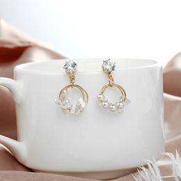 $enCountryForm.capitalKeyWord Australia - Minimalist Jewelry Pearl Rhinestone Earrings For Women Round Geometric Earrings Small Crystal Drop Korean Pendientes