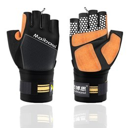 $enCountryForm.capitalKeyWord Australia - 1 Piar Non-slip Weight Lifting Gloves Leather Gym Wrist Wrap For Bench Press Training Fitness Bodybuilding Sport Palm Gloves T190728