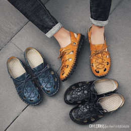 Men Patent Leather Sandal Australia - top quality Luxury Genuine Leather Summer Shoes Men Sandals Fashion Male Sandalias Beach Shoes Soft Bottom Breathable Beach slippers
