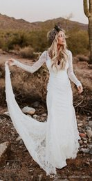 dresses made usa Australia - 2019 Rustic Country Mermaid Wedding Dresses with Long Sleeves Modest Beach Backless Bohemian Lace Bridal Wedding Gown Usa robe de mariée