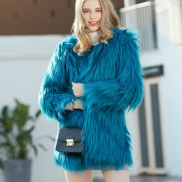 Long Hair Women Australia - Luxury Women Fur Faux Fur Coat Long Hair Jacket Imitation Long Sleeved Outwear Cardigan Trench Coat Parka Tops 2018