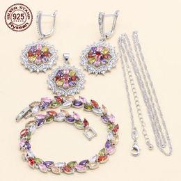 $enCountryForm.capitalKeyWord Australia - 925 Silver Wedding Jewelry Set Women Bracelet Earrings Chains Pendant Multi Color Cubic Zirconia 2018 Christmas Gift