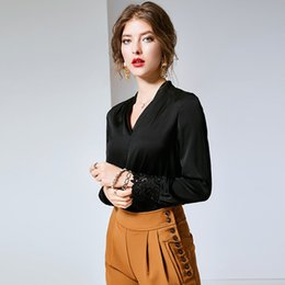 9dc694d3dce531 New V-neck Long-sleeved Vintage 95% Real Silk Shirt for Women's Wear Office  Lady High End Blouse and Tops Black R10794