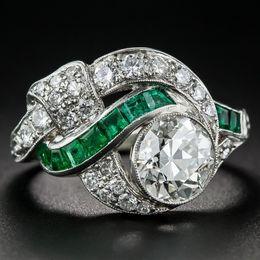 $enCountryForm.capitalKeyWord Australia - Vintage Jewelry 925 Sterling Silver Emerald & Diamond Engagement Promise Rings Size 5 6 7 8 9 10 11 12