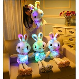 Valentine Pillows Gift Canada - 75CM Plush Rabbit Romantic Colorful Glowing Love Rabbit Doll Cartoon Plush Toy Flashing LED Light Rabbit Pillow Valentine Christmas Gift