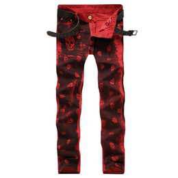 $enCountryForm.capitalKeyWord Australia - 2018 New Dropshipping Men Jeans Red White Skull Pattern Printed Punk Slim Fit Motorcycle Biker Jeans Skinny Cotton Denim Pants