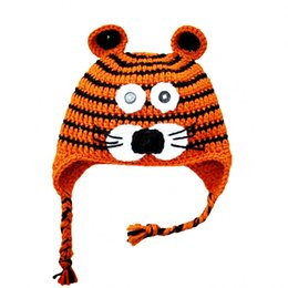 crochet tiger hat Australia - Lovely Baby Tiger Hat,Handmade Knit Crochet Baby Boy Girl Wildlife Animal Hat,Infant Earflap Cap,Newborn Toddler Photo Prop