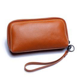 holder wrist 2019 - YUFANG Women Clutch Bag 100% Genuine Leather Womens Wrist Wallet Phone Money Bag Female Card Holder Business Hand Bags d