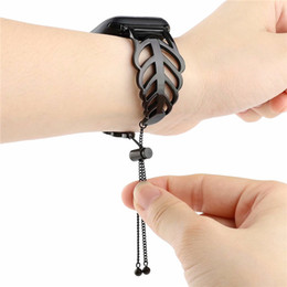 watch bracelet size UK - For iwatch Sizes 38mm 42mm Fashion Leaves Stainless Steel Strap Watchband For Apple Watch Band Replacement Wristband Bracelet Strap