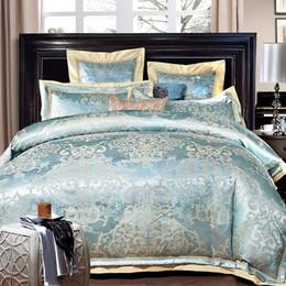 $enCountryForm.capitalKeyWord Australia - Luxury Jacquard blue golden bedding set queen king size bed satin Europe style duvet cover bedspreads linen bedclothes