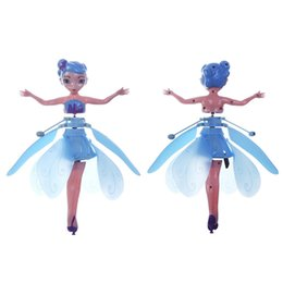 Photos birthday online shopping - Mini RC Aircraft Flying Fairy Doll Electric Induction RC Drone Helicopter Toy Fairy Tale Figures Christmas Gift for Girls DHL Shipping