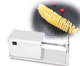 tornado fries cutter Canada - Commercial Electric Potato Twister Cutter 110V 220V Tornado Potato Slicer Spiral French Fries Chips Maker Cutter Machine LLFA
