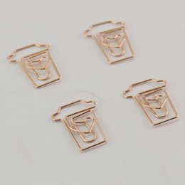 Wholesale Coffee Cup Mug Shaped Paper Clips Metal Note Clips For Office School Wedding Decoration Pack