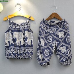 Toddler fashion ouTfiTs online shopping - 2017 Fashion Baby Outfits Kids Girls Clothing Sets Elephant Vest Crop Tops Long Pants Summer Toddler Girls Clothes