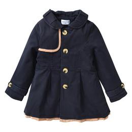 $enCountryForm.capitalKeyWord NZ - Toddler Girls Navy Jacket Trench Coats 2019 Fall Fashion Winter Cotton Kids Warm Long Single Breasted Coat Windbreaker for Girls