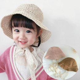 BaBy Boy straw summer hat online shopping - COKK Girls Straw Hats Summer Sun Hats For Girl Child Children Baby Beach Long Lace Ribbon Kids Sunscreen Sunhat Cap Travel