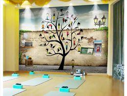 $enCountryForm.capitalKeyWord Australia - Customized 3D stereo sports gym photo wall paper mural Creative yoga studio small tree wall decoration papel de parede