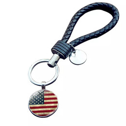 $enCountryForm.capitalKeyWord UK - National flag key ring USA UK CA etc national flag woven leather rope key chain Creative small gifts