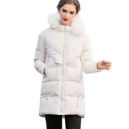 7a6e6764b4ad5 Women Winter White Big Fur Collar Duck Down Parka Warm Coat Jacket Female  2019 New Fashion Vintage Over The Knee Outerwear HJ63