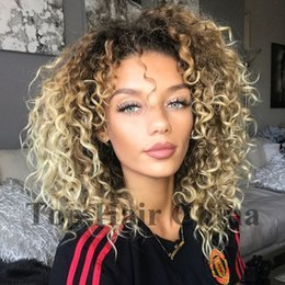 ombre curly human hair wigs bang 2019 - Top hair China Brazilian Ombre Blonde Wig Afro Kinky Curly Like Human Hair Wigs for Black Women Glueless Full Wig With B