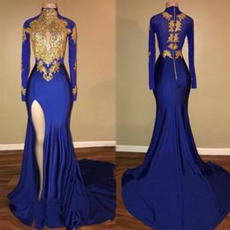1e551c717 Vestidos de manga larga Vestidos de noche Sexy Cuello alto Ojo de cerradura  Con encaje de oro Azul real Vestido de fiesta Vestido de fiesta de alta  división ...