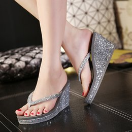 new summer wedges 2019 - Flip flops summer women shoes clip toe sexy bling wedges slides comfortable high heels slippers femme zapatos mujer 2019