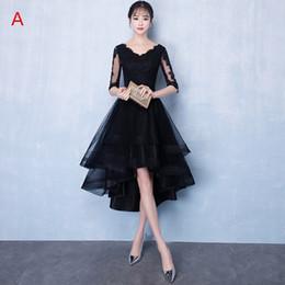 2018 Robes de demoiselle d'honneur élégantes en organza noir sur mesure 1/2 manches Salut-Lo robes de bal d'étudiants balayage train dentelle femmes robes de soirée robe de cocktail en Solde