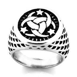 miao rings Canada - FANSSTEEL STAINLESS STEEL punk vintage mens or womens JEWELRY Celtic Round Star Wind Wheel Ring GIFT FOR BROTHERS SISTERS FSR20W46
