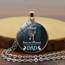 $enCountryForm.capitalKeyWord Australia - A Piece of my heart lives in Heaven Memory of dad Cabochon Necklace Time Gemstone Pendants Fashion Jewelry for Women