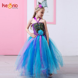 68dde0fb87b0 Peacock Flowers Girl Dresses Australia - Peacock Feather Flower Girl Tulle  Tutu Dress Pageant Wedding Halloween