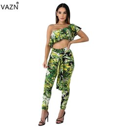 abe1bacb008 VAZN 2019 Top Quality New Design 2 piece Women Set Print One Shoulder Short Sleeve  Long Pant Bodycon Lace Up Jumpsuits SD9105