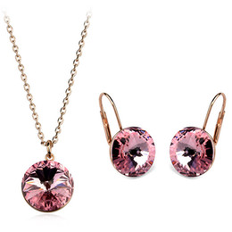 Best Christmas Gift Sets Australia - Original Crystals From SWAROVSKI Bella Jewelry Sets Round Pendant Necklaces Piercing Earrings For Women Wedding Best Christmas Gift