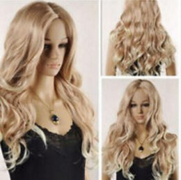 Kanekalon Lace Wigs NZ - WIG LL<<< 001876 Curly Light Blonde Heat Resistant Lace Front Hair Wig Natural Kanekalon Fiber no lace Hair full Wigs