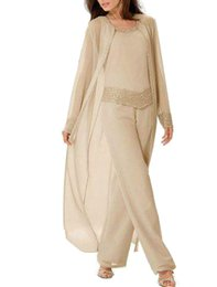 Mother Bride Portrait Dress UK - Champagne Mother of The Bride Dresses Pants Suits Plus Size with Long Sleeves Jacket Chiffon Mother of the Groom Dress