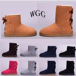 Picking Shoe Australia - Designer luxury Australia Women Snow winter Boots WGG lady girl leather casual shoes black pick blue grey Khaki Snow Knee boots Eur 36-41