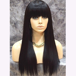 wig black bangs african american 2019 - Natural Looking Black Wig With Bangs Full Density Lace Front Wig Heat Resistant Silky Straight Black Synthetic Wigs For