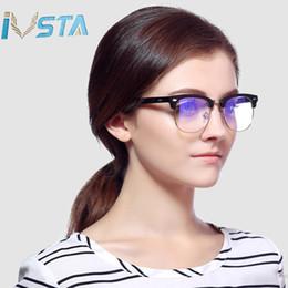 Gold Block Letters Australia - IVSTA Blue light blocking glasses men 3016 Half Rim Nerd glasses mens specs gold women myopia korean eyeglasses optical clear lens vintage