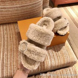 Slipper Sheep online shopping - Autumn winter new super hot style Sheep wool slippers imported from Europe Soft and comfortable rubber flat sandals