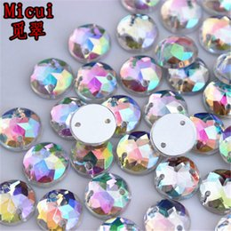 $enCountryForm.capitalKeyWord Australia - Micui 200PCS 10mm AB Clear Round Acrylic Rhinestones Crystal Flat Back Beads For Clothing Craft Decoration Sew On 2 Hole ZZ203G