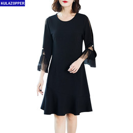 $enCountryForm.capitalKeyWord NZ - KULAZOPPER Big size Woman Dresses 2019 New Women's Spring Black Fish tail Lace Long sleeve Dress ky393