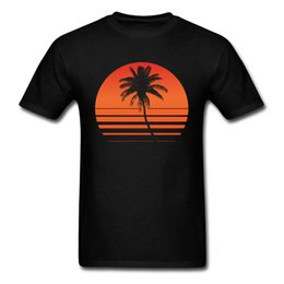 Tee Tree Australia - Male Tops Shirt sunset palm tree 2018 Discount Design T Shirt 100% Cotton Short Sleeve Normal Tee Shirts Crew Neck