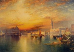 venice canvas art abstract NZ - Thomas Moran Grand Canal Venice Giclee Canvas Art Silk Poster 24x36inch 24x43inch 0548