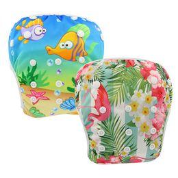 Swimwear Infant Australia - Ohbabyka Waterproof Diapers for Swimming Animal Floral Pattern Baby Cloth Diaper Infant Swimwear Baby Nappies Cover 2PCS