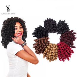 "$enCountryForm.capitalKeyWord NZ - 8"" Crochet Hair Extensions Fresstress Crochet Braids 6packs Black Braiding Twist Hair Synthetic Jumpy Wand Curl"