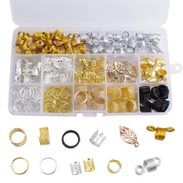 Wholesale Hot! 200 Pieces Lot Aluminum Hair Coil Dreadlocks Beads Metal Hair Cuffs Braids Clip Hair Decoration Accessories with Storage Box